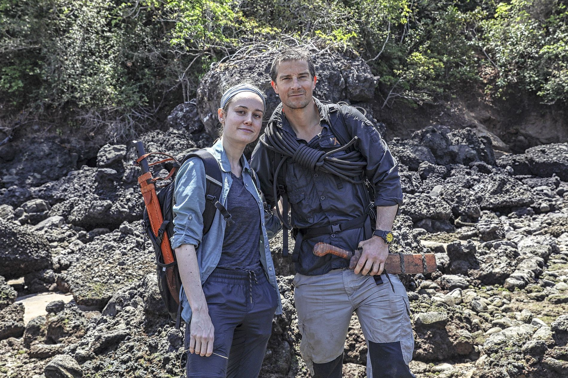 Captain Marvel star Brie Larson and Bear Grylls in Panama. This land of crocodiles, snakes and ...