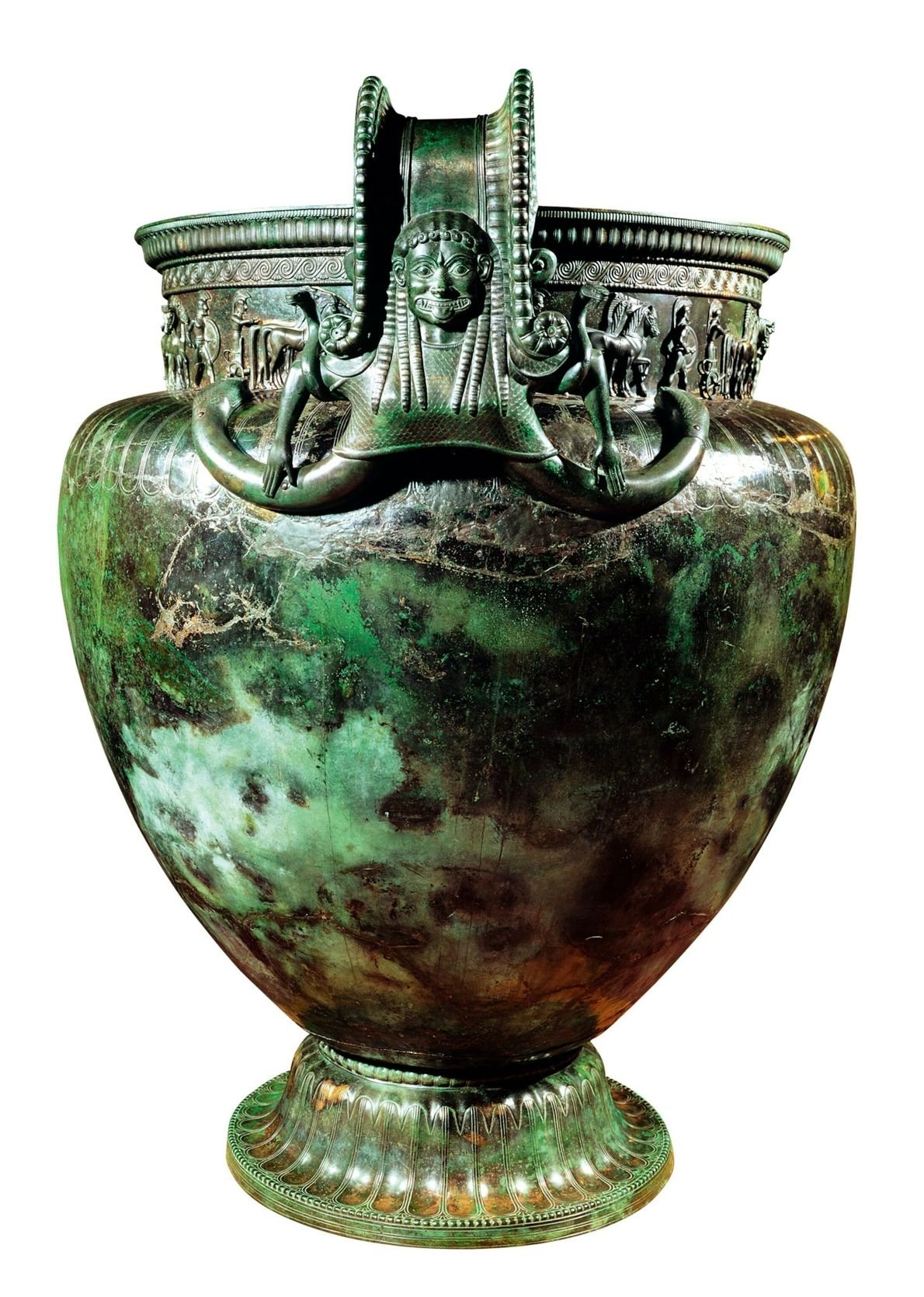 Standing more than five feet tall, this magnificent bronze krater was used for diluting wine with ...