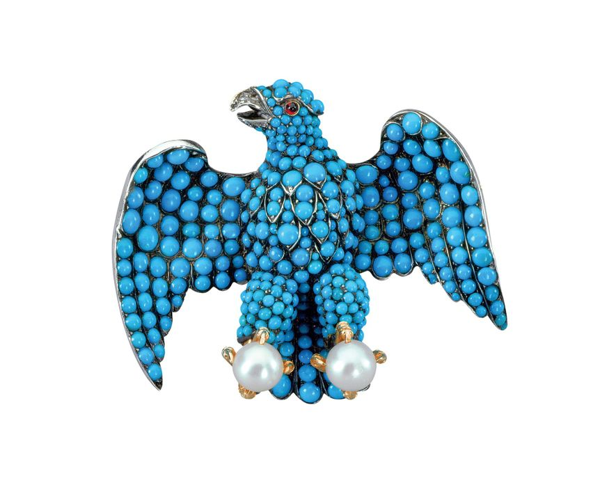 Eagle turquoise brooch designed by Prince Albert in 1839-1840
