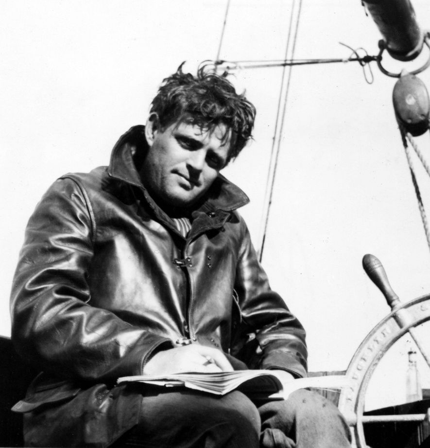 Jack London at the wheel of his 55ft ketch, The Snark, 1907.