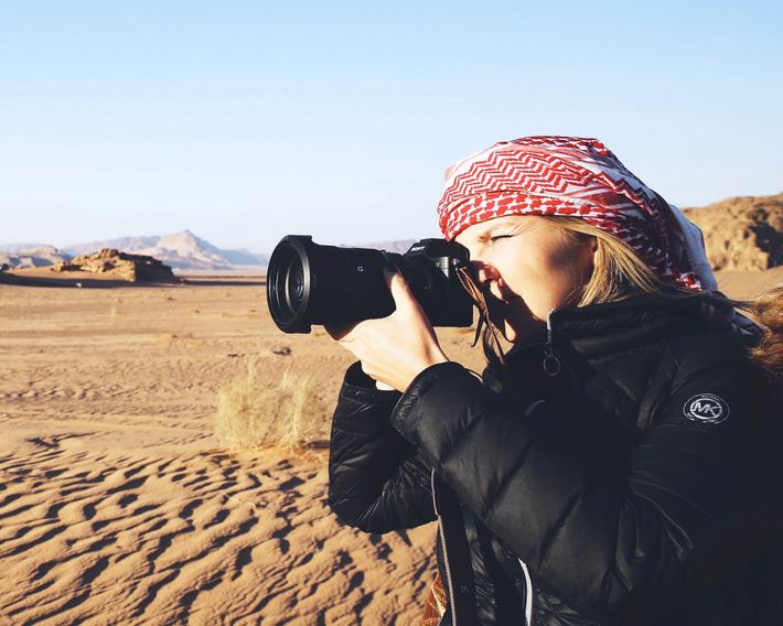 Photographer Yulia Denisyuk, seen here on assignment in Jordan.