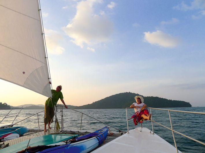 Sailing off the Burmese coast.
