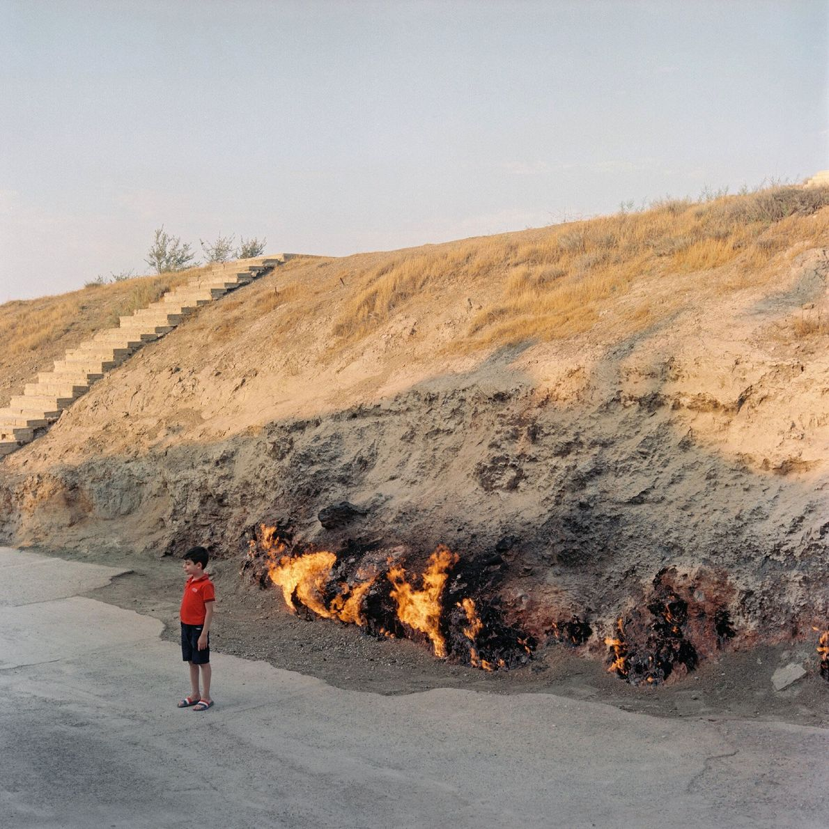 Yanardag, a gas poked hill, has been burning for several hundred years.
