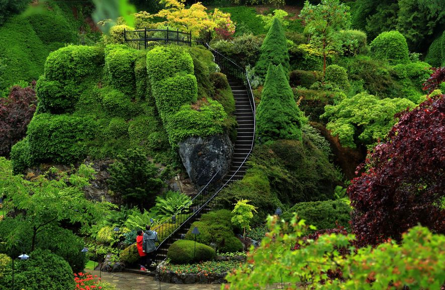 The Butchart Gardens in Brentwood Bay have been designated a National Historic Site of Canada.