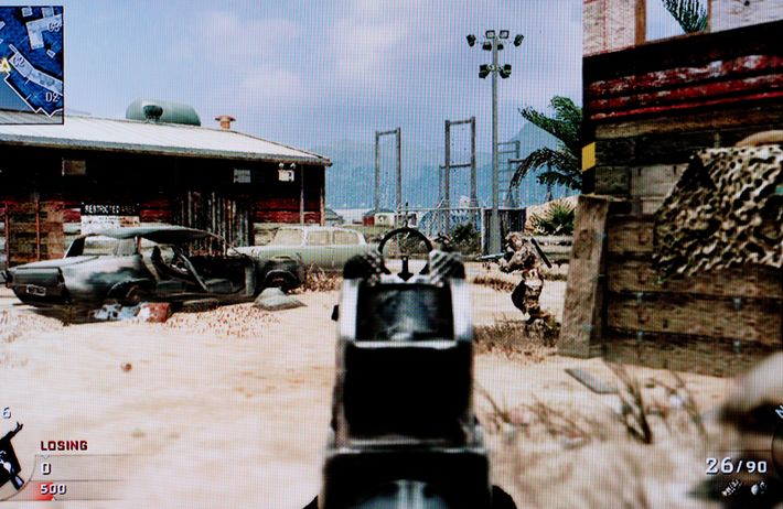 A still from a 'first-person shooter' game. Combat simulation games such as this carry age-certification similar ...