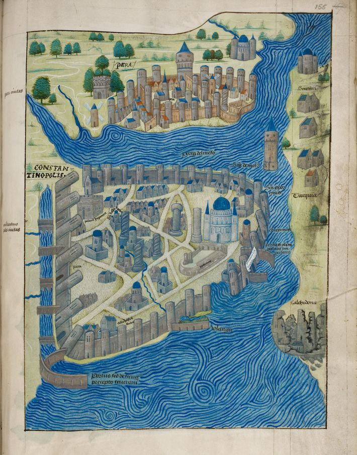 A map of Byzantine Constantinople, created by a Florentine priest who visited in 1420, is the ...