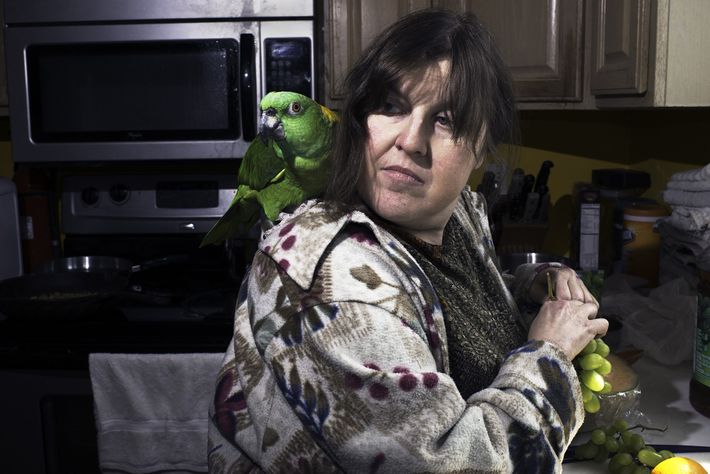 Debi Howard, a first-time volunteer at the Wilson Parrot Foundation, bonds with an Amazon parrot while ...