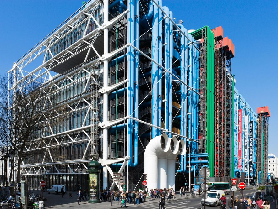 Paris's Pompidou Centre, with its external workings, was the inspiration for the earliest Nike Air trainers.