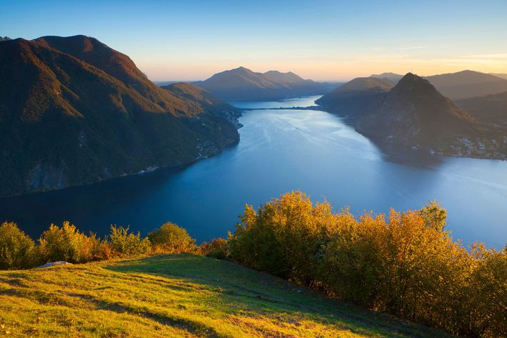 Reached by funicular, Monte Brè affords spectacular views of Lake Lugano and the city that hugs ...