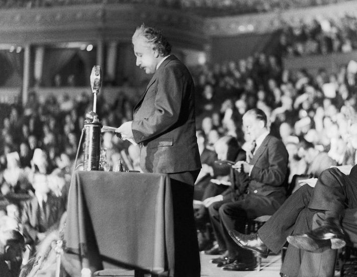 In 1933, Albert Einstein spoke at the Royal Albert Hall about his fears for growing war ...