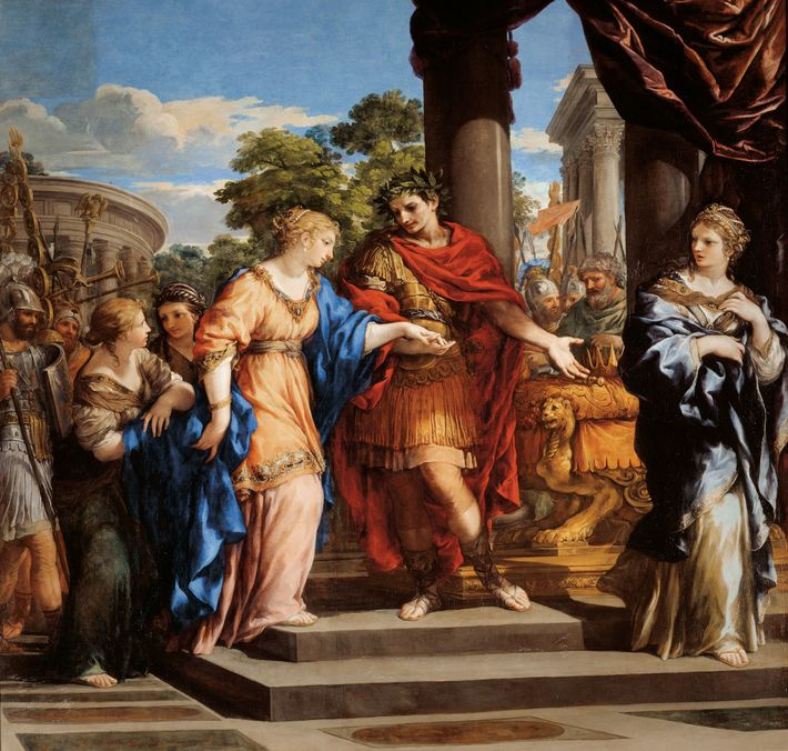 Julius Caesar restores Cleopatra to the Egyptian throne in a 1637 oil painting by Pietro da ...