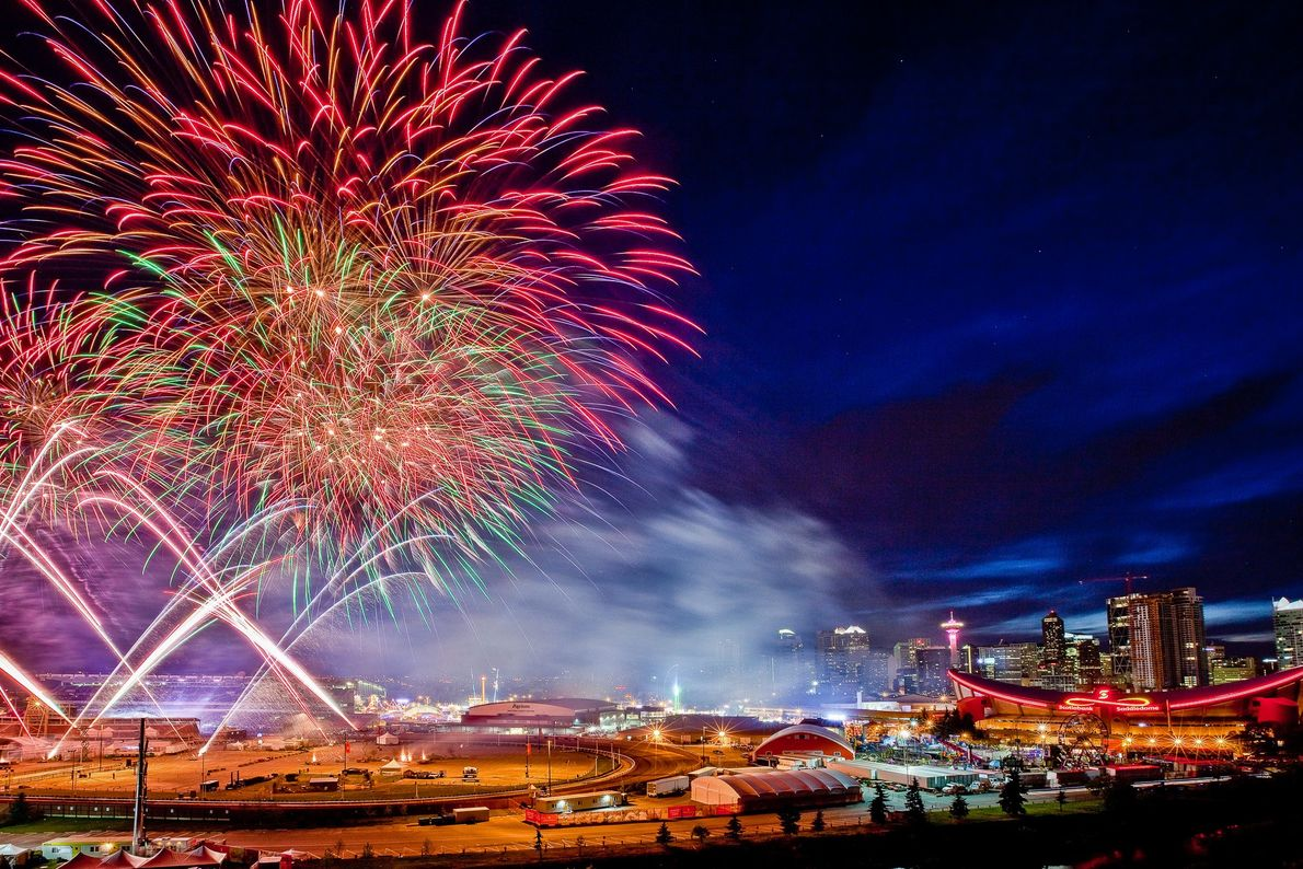 Fireworks during the Calgary Stampede, an annual rodeo, exhibition and festival held every July in Calgary, ...