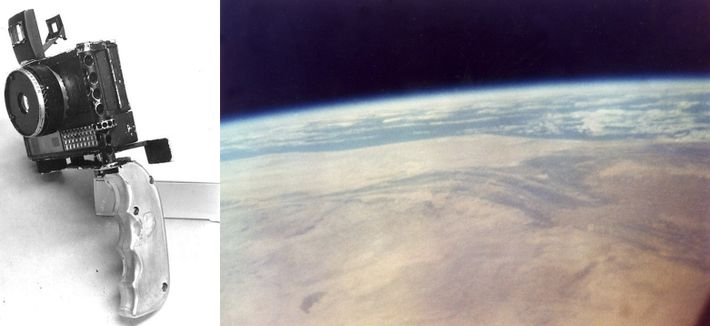 Left: One of two cameras John Glenn took aboard the 'Friendship 7' capsule, a heavily modified ...