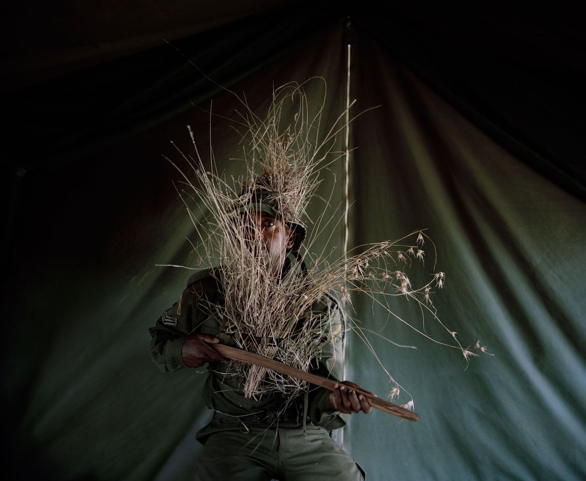 When recruits arrive, they have no knowledge of anti-poaching techniques. While training, they use sticks instead ...