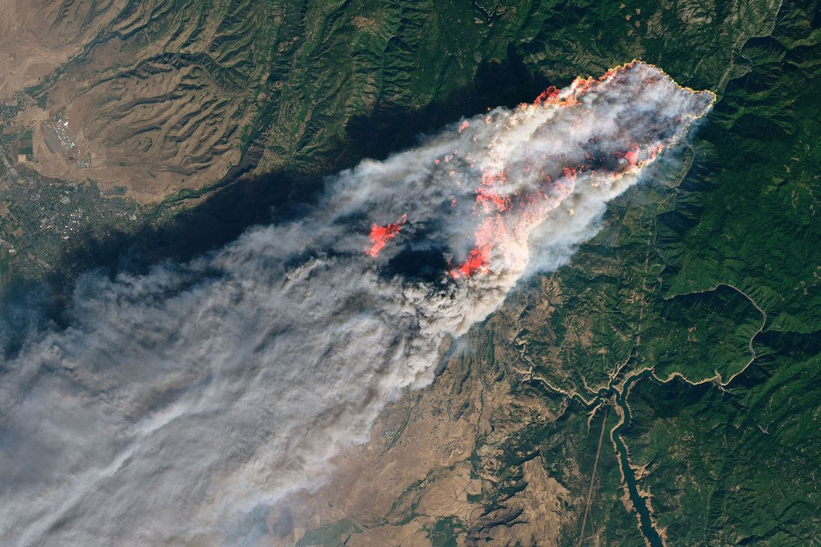 California's Camp Fire is seen from space on November 8, 2018.