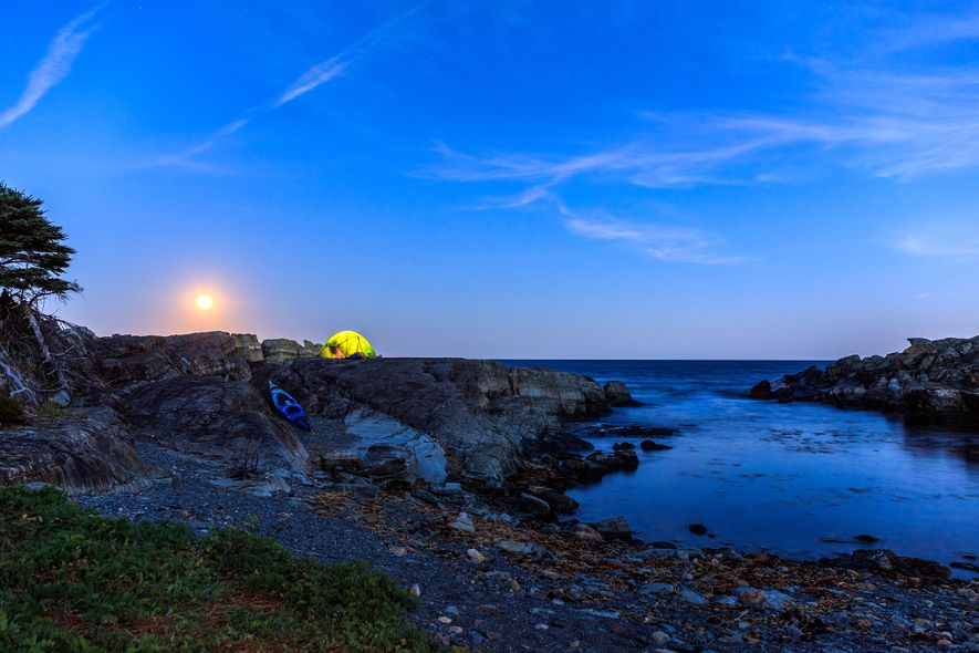 September harvest full moon rise. LeHave. Kayak Camping through Cape LeHave Adventures to Moshers Island. We ...