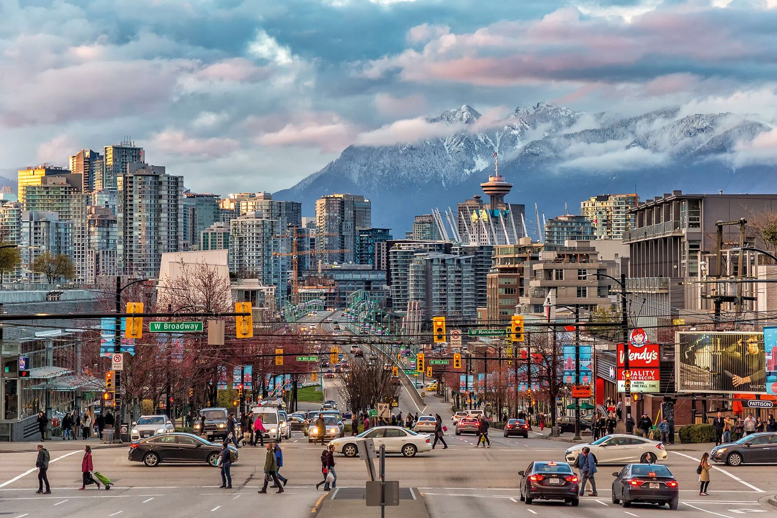 Vancouver's downtown, framed by snow-capped mountains.