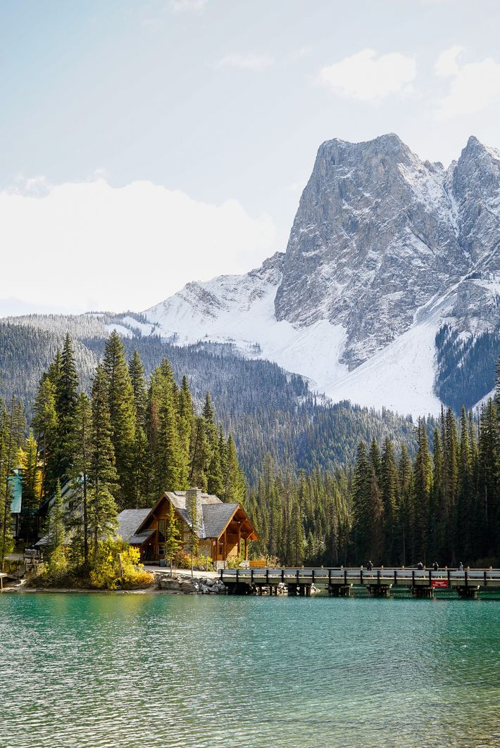 Emerald Lake in Yoho National Park, a land with silvery peaks and thick, forest-covered slopes.