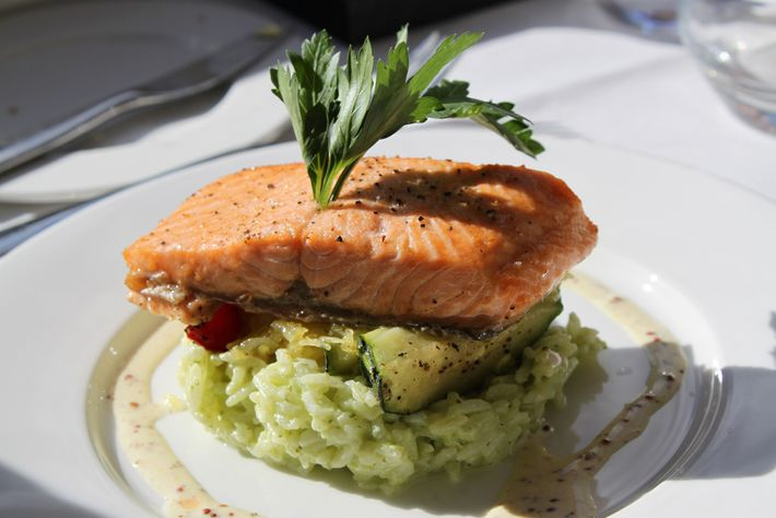 Pacific salmon dished up aboard the Rocky Mountaineer.