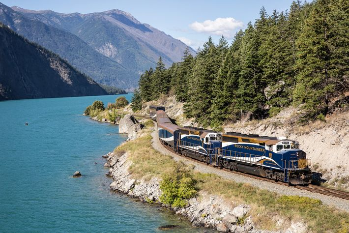 The Rocky Mountaineer passing Seton Lake, a fjord draining into Fraser River.