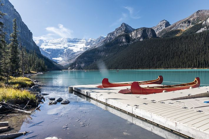 The glacial waters of Lake Louise, in the heart of the Canadian Rockies.