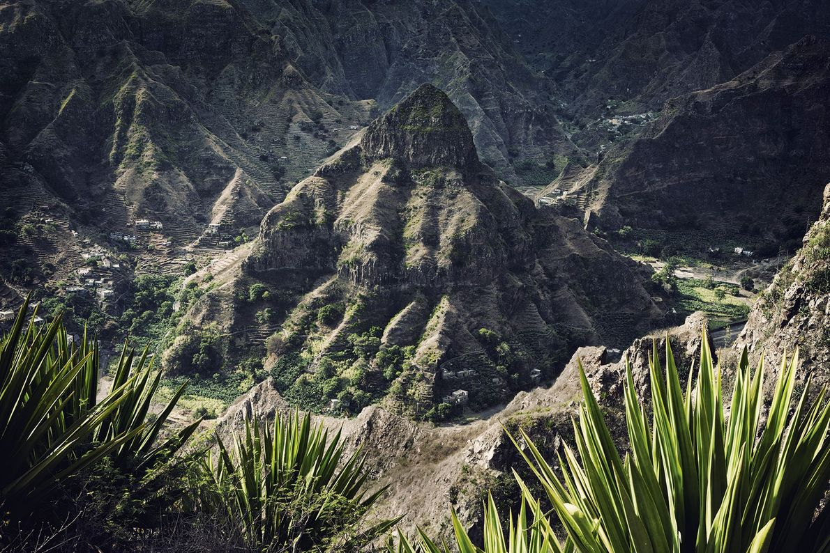 Terraced mountains in Santo Antão.