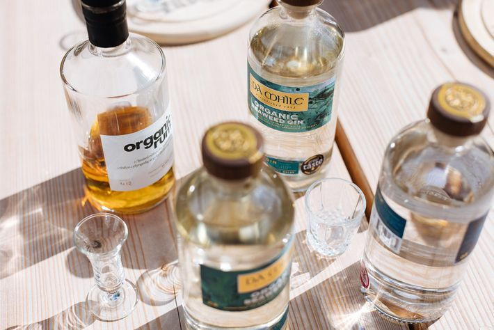 A selection of organic spirits (including Seaweed Gin) from the Dà Mhìle Distillery.