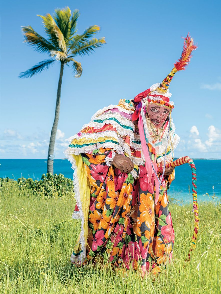 At Fort James on the island of Antigua, the pink masks worn by troupes of clowns ...