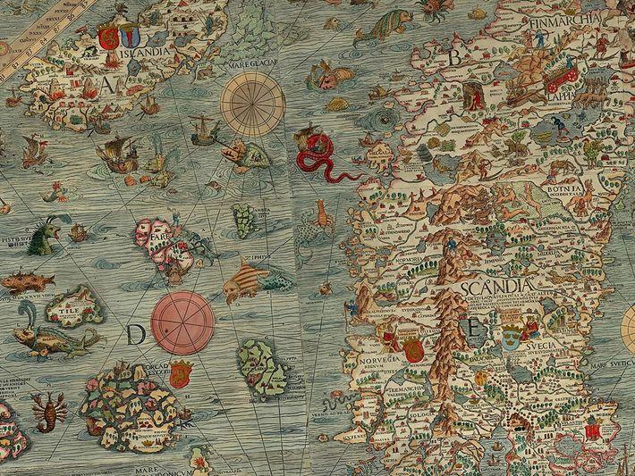 The Carta marina et descriptio septentrionalium terrarum – named in Latin as per cartographic conventions of the ...