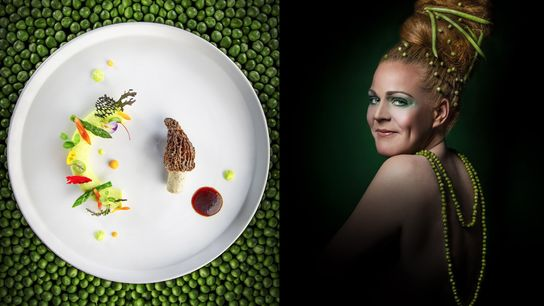 Top chef Marie Robert alongside one of her dishes