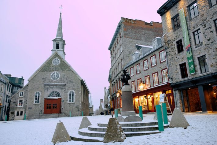 Cathedral-Basilica of Notre-Dame de Québec sits on Petit-Champlain Street inside the Historic District of Old Québec, ...