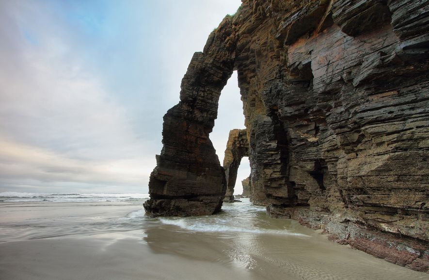 The rock formations that give Cathedrals Beach its name in Ribadeo, Spain.