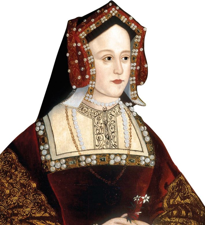 Anne wore the queen's jewels before being crowned, taking them from Queen Catherine of Aragon (pictured), ...