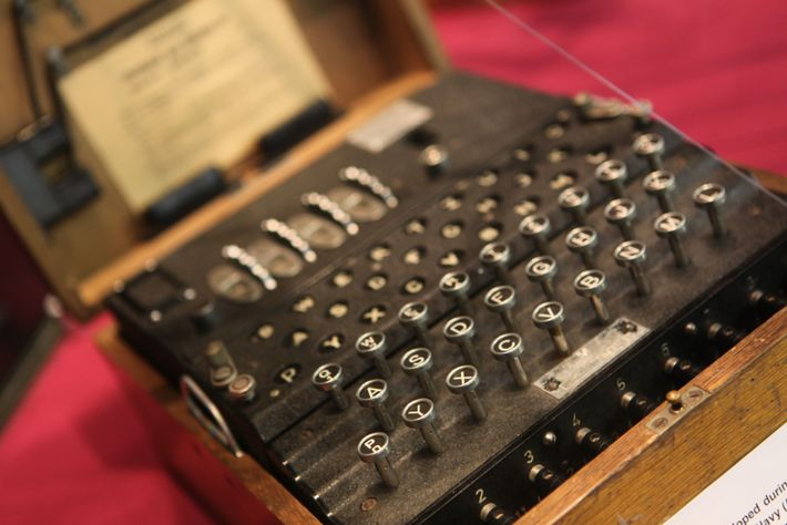 An Enigma machine. Used by the German military to encrypt sensitive documents relevant to the war ...