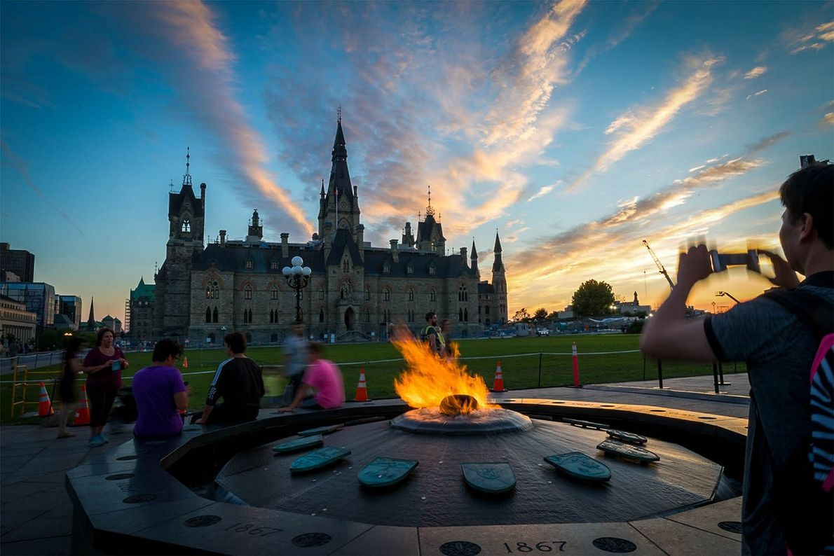 The Centennial Flame commemorating Canada's 100th anniversary as a confederation is located on Parliament Hill.