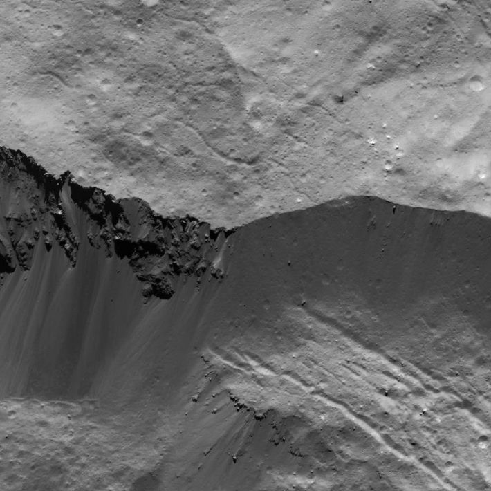 This image of a wall on Occator Crater on Ceres was obtained by NASA's Dawn spacecraft ...