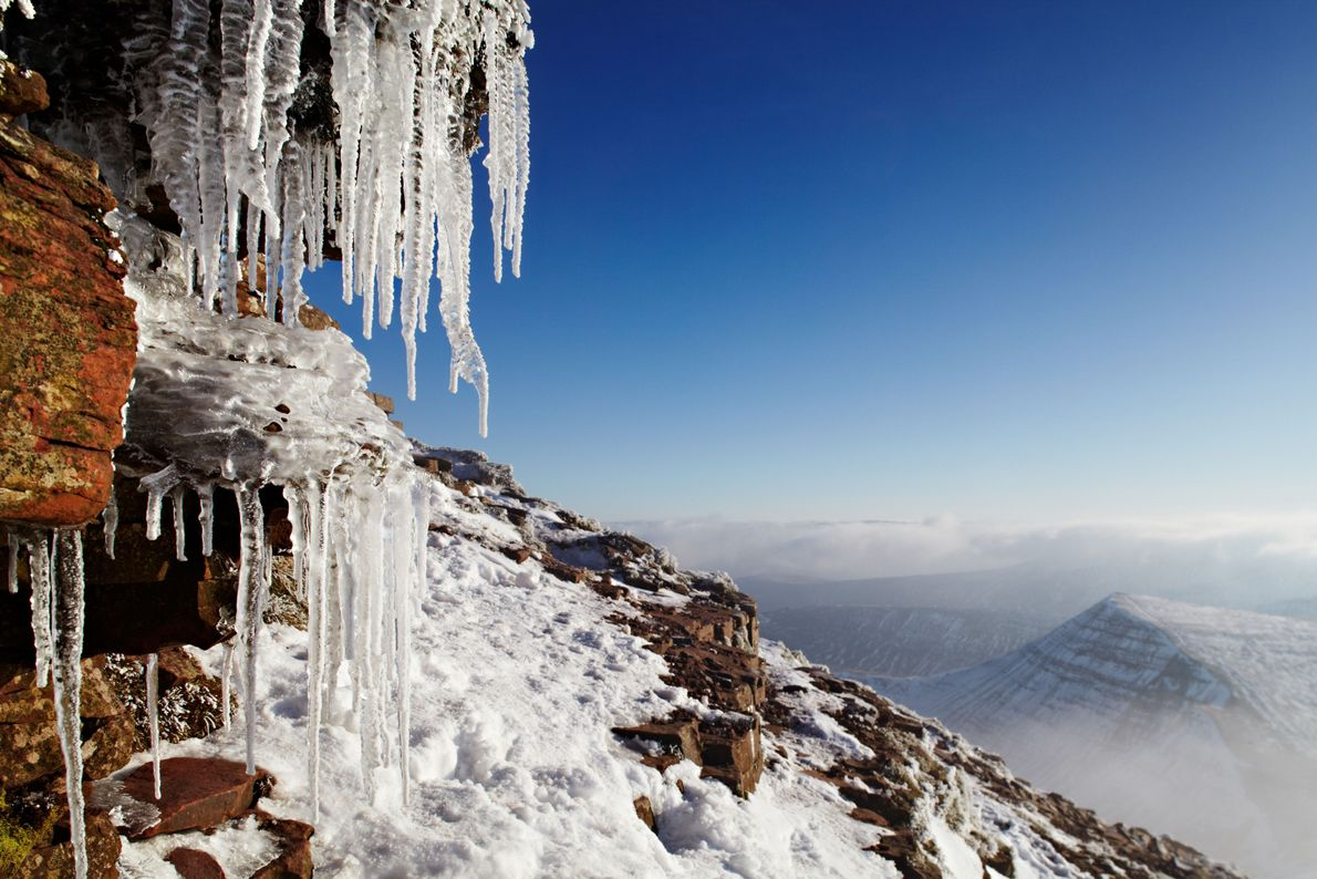 Ice on the summit of Pen y Fan– at 886 metres the highest mountain in South ...