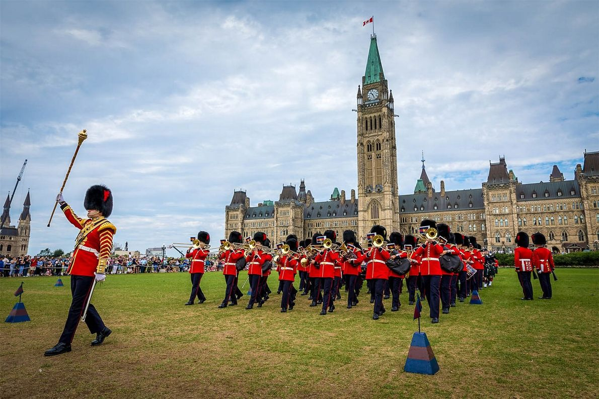Catch the changing of the guard ceremony, mornings throughout the summer, on Parliament Hill.