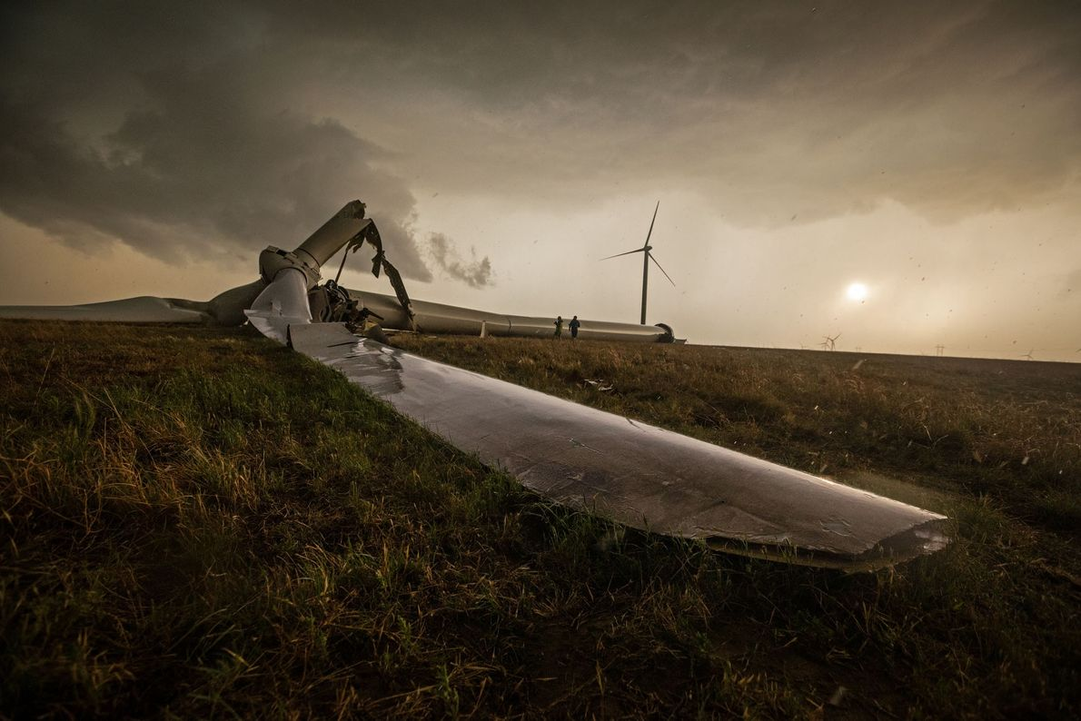 This windmill in Spearman, Texas, stood more than 200 feet high until it was toppled by ...