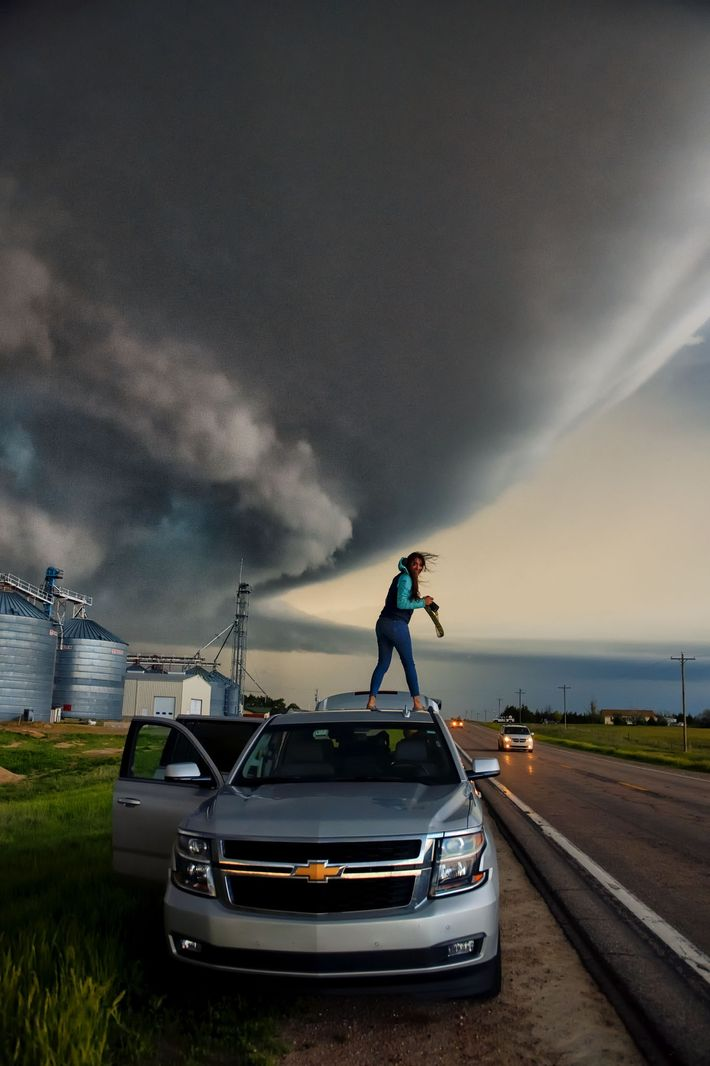 """Photographer Krystle Wright looks back in disbelief as a """"mother ship"""" formation towers above Imperial, Nebraska. ..."""