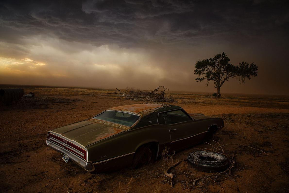 A vicious supercell slams into Ralls, Texas, blackening the skies and heading toward an abandoned Ford ...