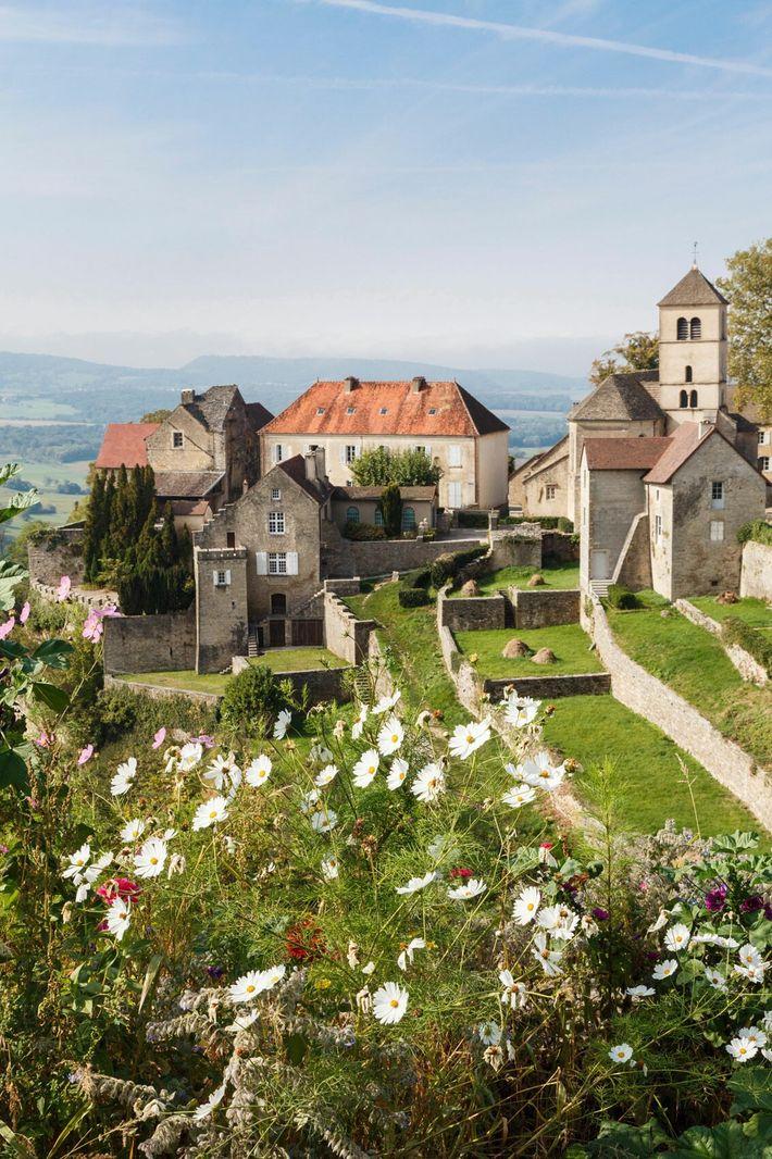 Hilltop village in Chateau Chalon, Jura.