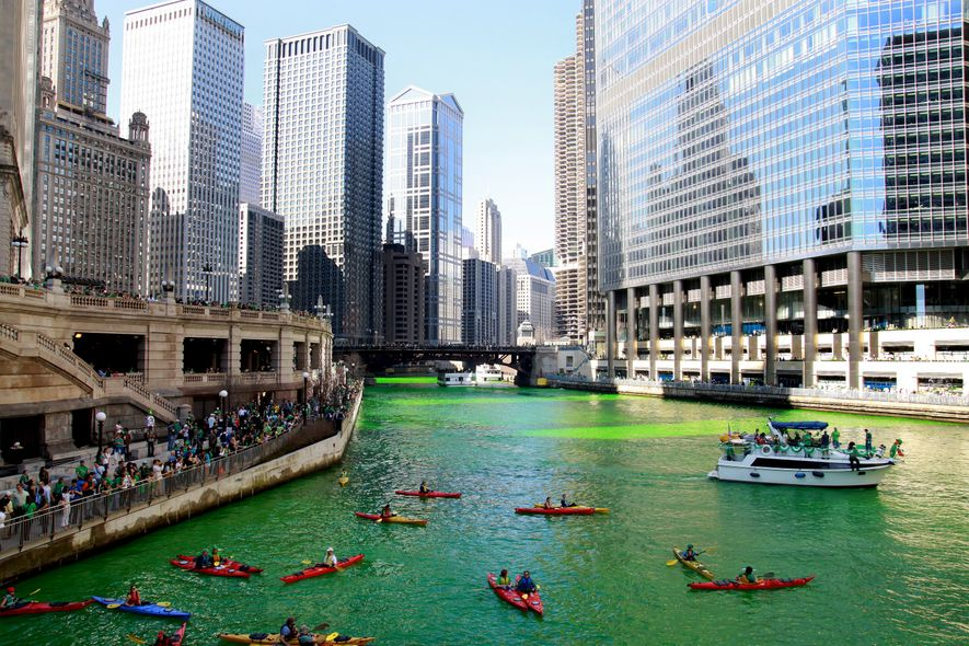 In honor of the city's annual St. Patrick's Day Parade, the Chicago River is dyed green ...