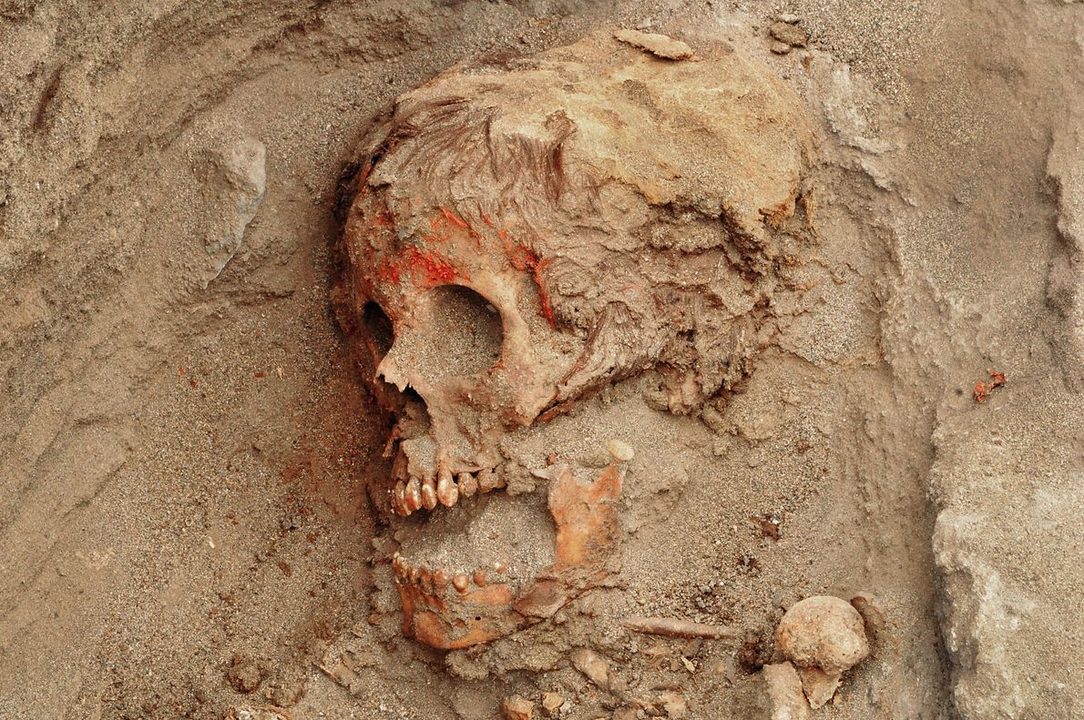 Many children show evidence of having their faces smeared with red pigment before death. DNA analysis ...
