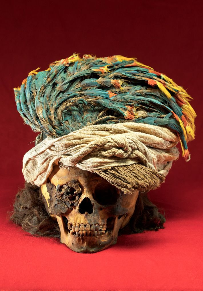 A headdress of macaw feathers adorns the skull of a sacrificed child who had shoulder-length hair. ...
