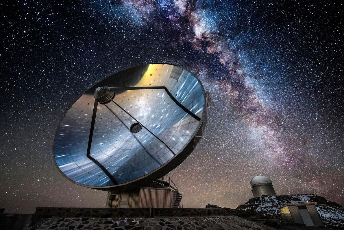 Bright stars shine behind an antenna at La Silla Observatory outside Chile's Atacama Desert. The observatory ...