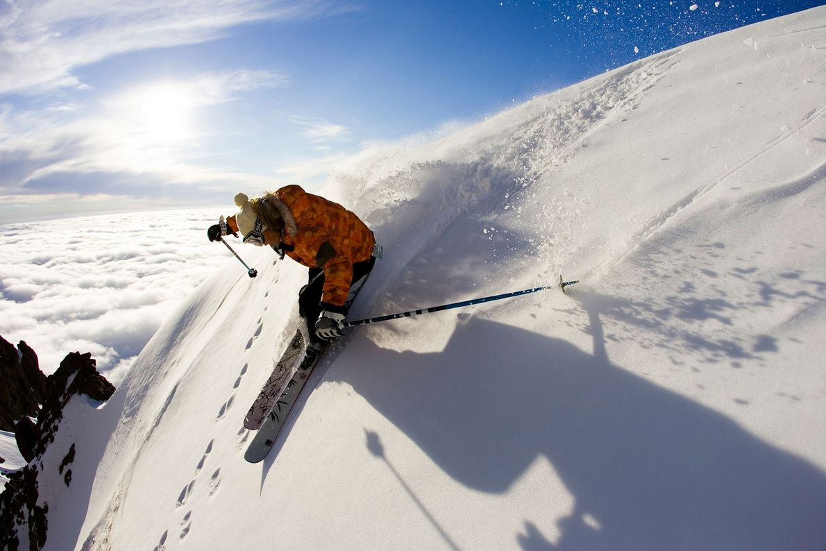 A skier soars down a steep slope at the Nevados de Chillán Ski Resort, formerly known ...