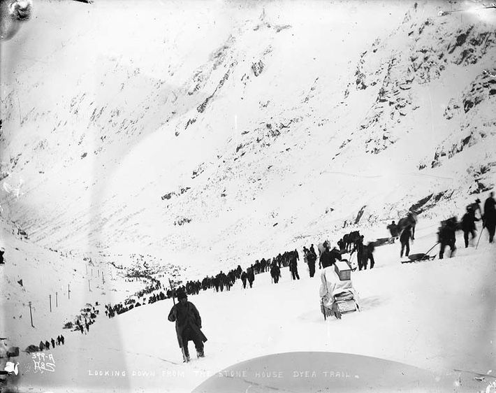 The Chilkoot Trail in 1898. This led to its namesake pass – which was the biggest test ...