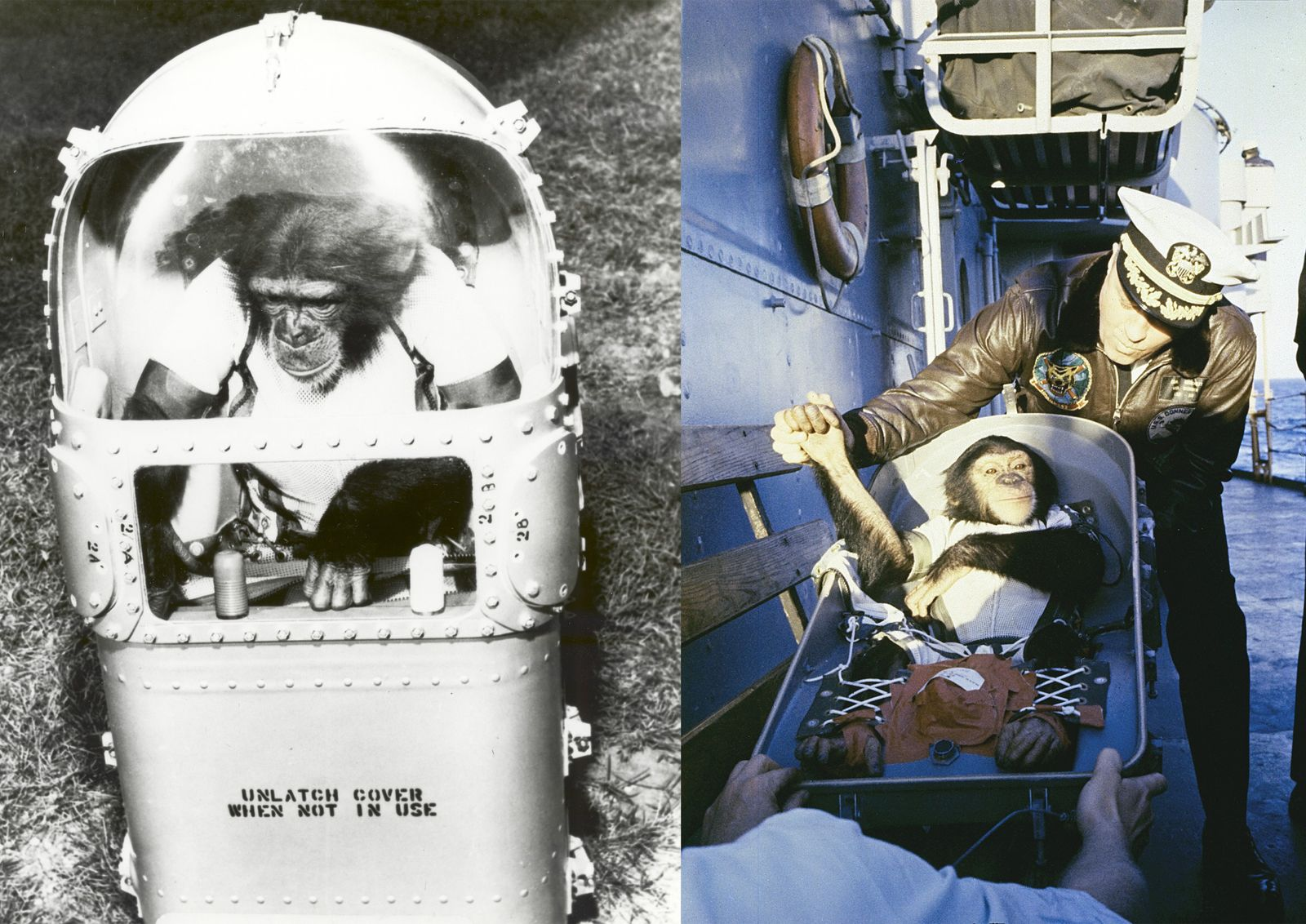 Left: Ham inside his life support capsule. The capsule – an alternative to a spacesuit – ...
