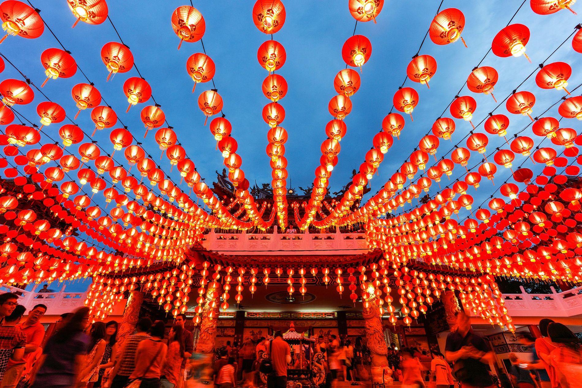 Lanterns glow at Thean Hou Temple in Kuala Lumpur, Malaysia, during Chinese New Year.